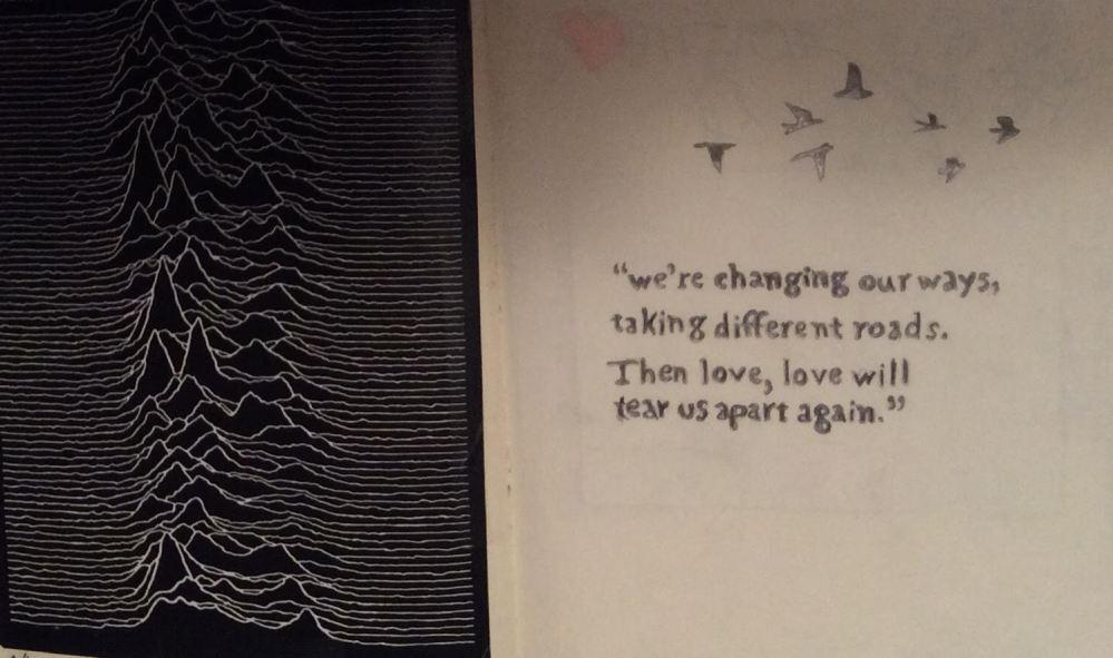 """Copertina di """"Unknown pleasure"""", sulla destra parte del testo ricopiato da mia figlia."""